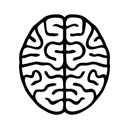 Human brain outline icon for medical healthcare