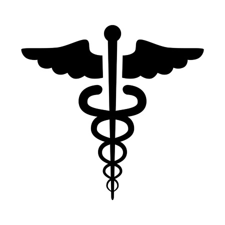 Caduceus medical symbol emblem healthcare flat icon for medical apps and websites Иллюстрация