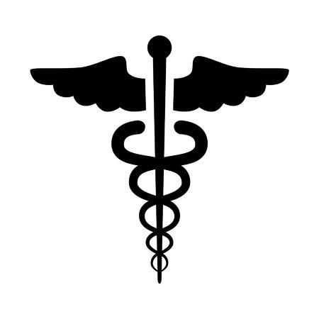 personal medico: Icono plana Caduceo símbolo médico emblema de salud para aplicaciones médicas y sitios web