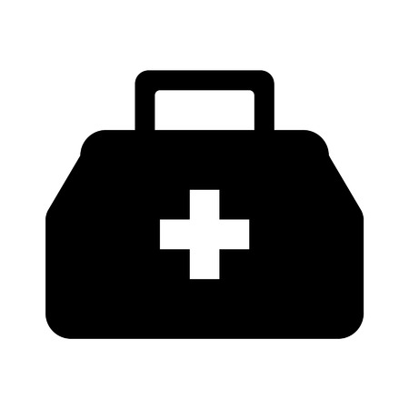 Physician or doctor bag flat icon for app and website