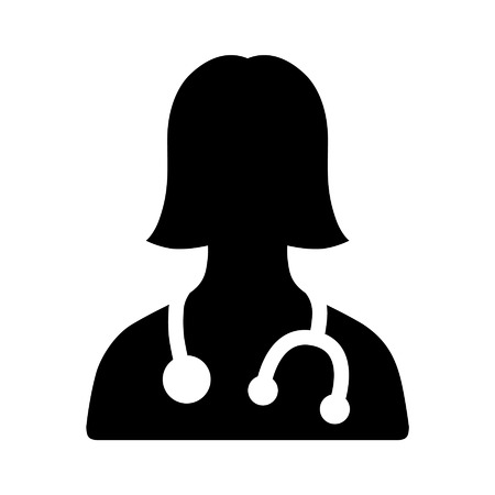 md: Female physician doctor - a provider of patient care flat icon for apps and websites