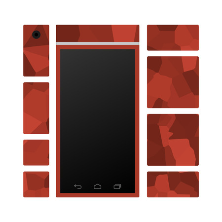 modular: Modular smart phone front with different modules rendering