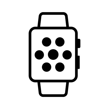 apple cartoon: Elegant smartwatch line art icon for apps and websites