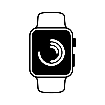 Smart watch wearable with fitness tracking flat icon Illustration