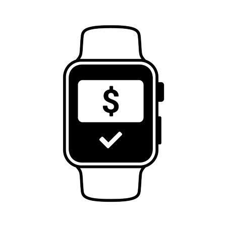 smartphone icon: Smart watch wearable with NFC payment flat icon