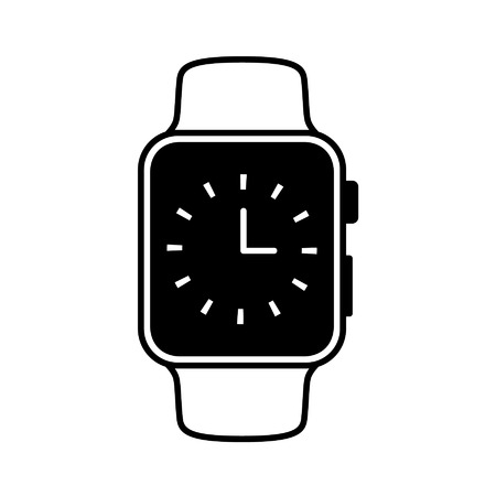 Smart watch wearable with time face flat icon