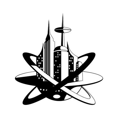 미래 벡터 아이콘의 국제 우주 정거장 일러스트