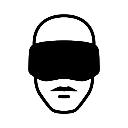 multimedia icons: Man wearing a virtual reality goggle headset icon