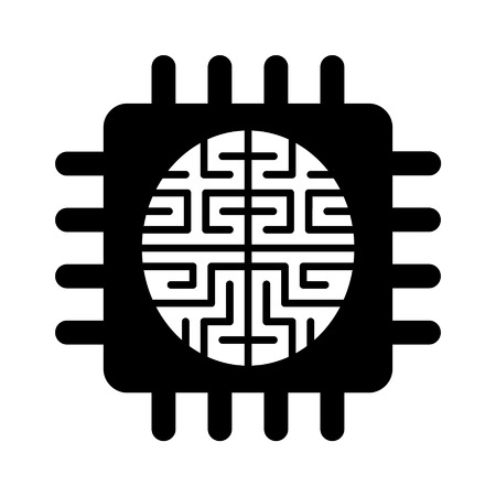 artificial intelligence: Artificial intelligence brain chip flat icon for apps and websites Illustration