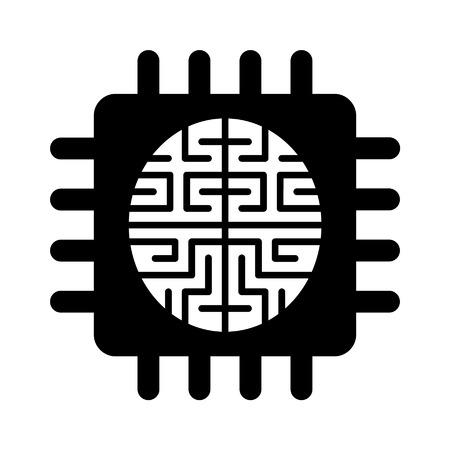 inteligencia: Icono plana chip de cerebro de inteligencia artificial para aplicaciones y sitios web