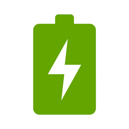 Green renewable energy battery flat icon for apps