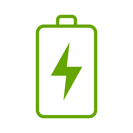 energy icon: Green renewable energy battery line art icon for apps