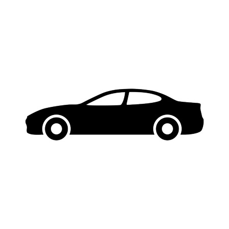 Luxury car automobile side view flat icon for apps and websites Çizim