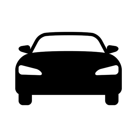 Luxury car front view flat icon for apps and websites Çizim