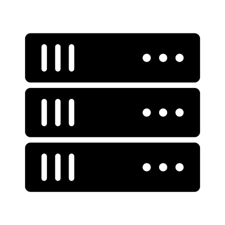 digitization: Data center server flat icon for apps and websites
