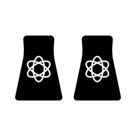 Nuclear  atomic energy flat icon for websites Illustration
