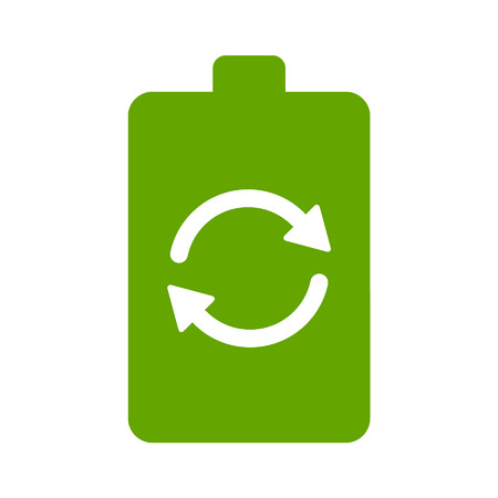 cellular: Renewable green energy battery flat icon for websites