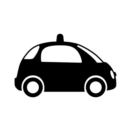 Autonomous self-driving driverless vehicle side view flat icon