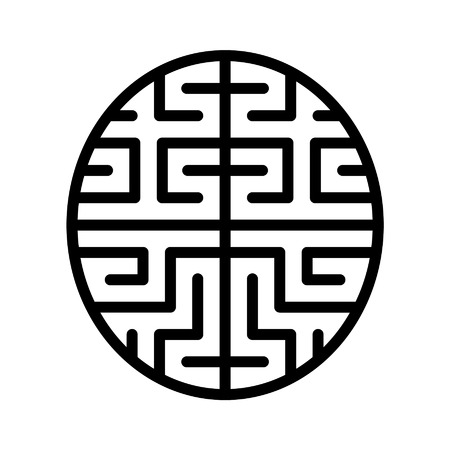 Artificial intelligence brain chip line art icon for apps and websites 向量圖像