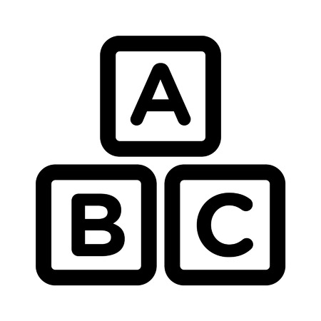 abc kids: ABC blocks child education line art icon for apps and websites
