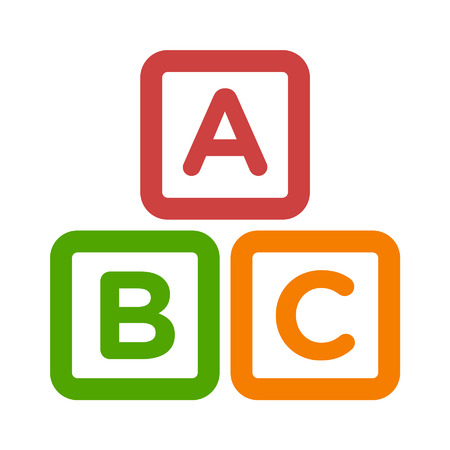 fundamental: ABC blocks child education line art icon for apps and websites