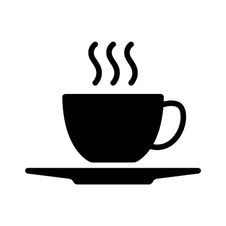 Hot coffee cup with plate flat icon for apps and websites