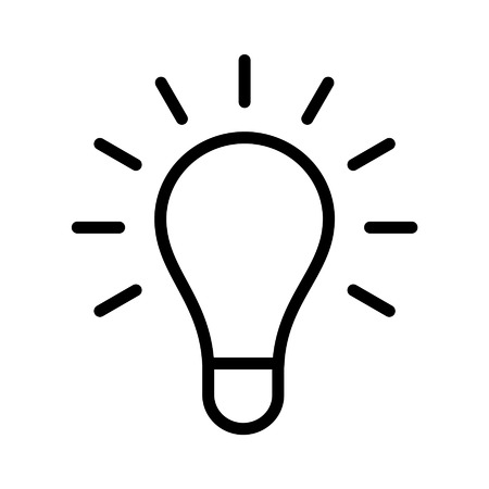 bright: Bright idea light bulb line art icon for apps and websites Illustration