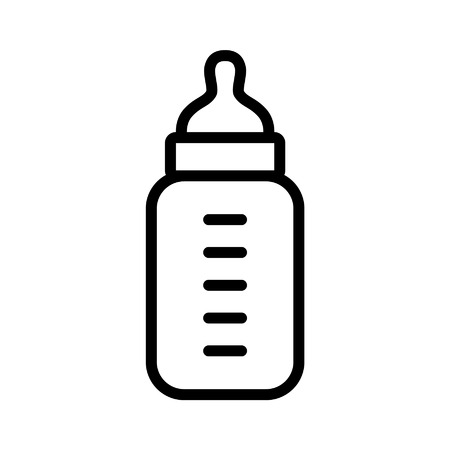 Baby milk bottle line art icon for apps and websites