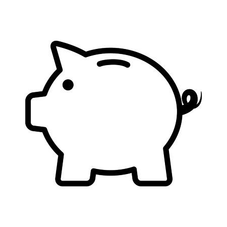 アプリと web サイトの貯金箱ライン アート アイコン  イラスト・ベクター素材