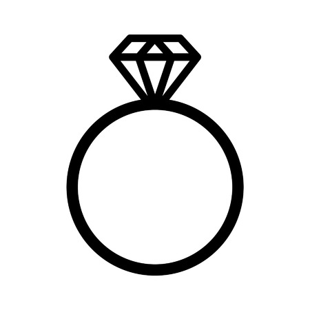 silver ring: Diamond engagement ring line art icon for websites