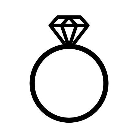 anillo de boda: Diamond icono de la línea de arte anillo de compromiso para los sitios web Vectores