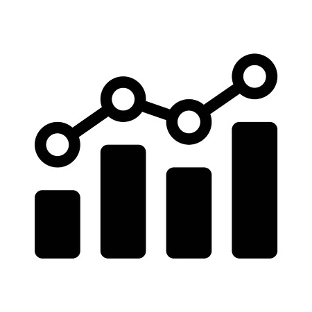 Financial earnings analytics flat icon for apps and websites