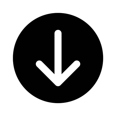 Down directional arrow flat icon for apps and websites
