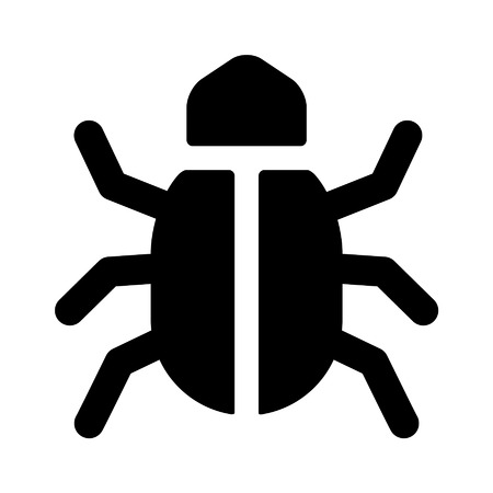 flaw: Software bug flat icon for apps and websites Illustration