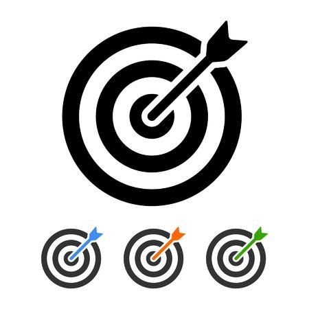 Doel bullseye met pijl vlakke pictogram van apps en websites Stock Illustratie