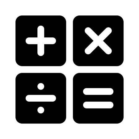 subtract: Calculator arithmetic signs flat icon for apps Illustration