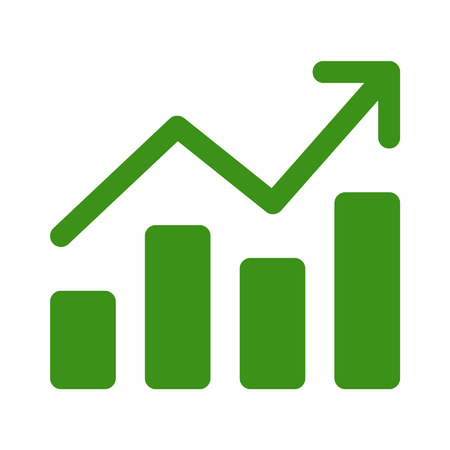 앱 및 웹 사이트의 성장 차트 그래프 평면 아트 아이콘 일러스트
