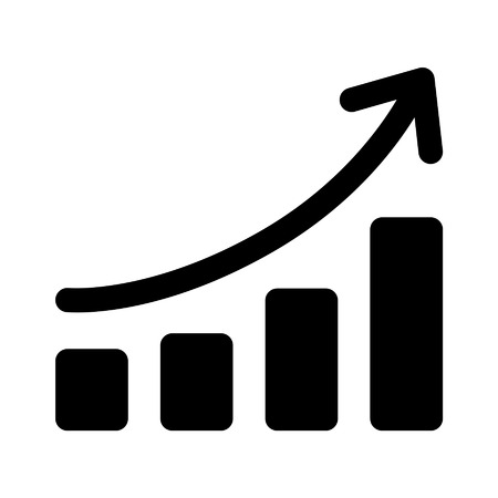 Growth chart graph flat art icon for apps and websites