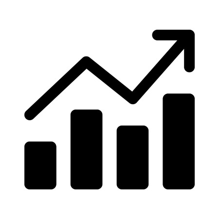 growth arrow: Growth chart graph flat art icon for apps and websites
