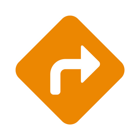 signals: Right turn road sign flat icon for apps and websites