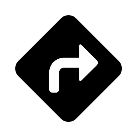 signal stop: Right turn road sign flat icon for apps and websites