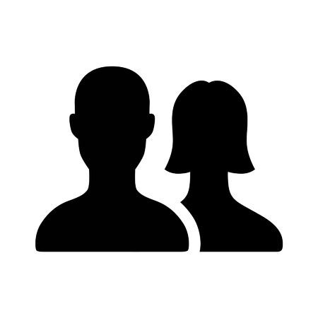 silouette: Male and female couple flat icon for apps and websites