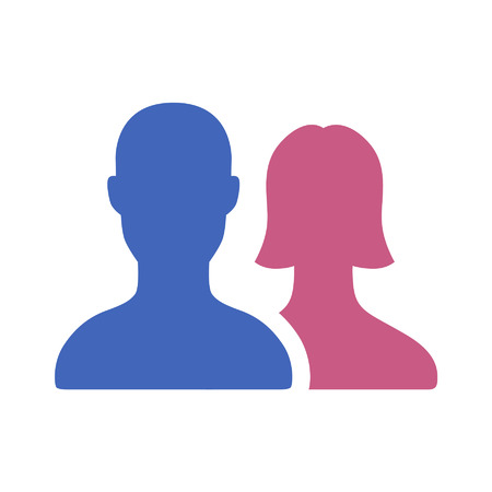 man and woman sex: Male and female couple flat icon for apps and websites