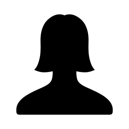 female portrait: Female user account flat icon for apps and websites Illustration