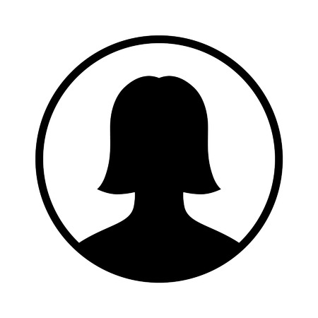 user: Female user account circle flat icon for apps and websites Illustration
