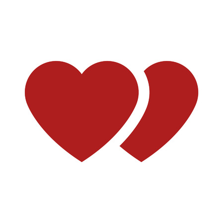 Love and marriage heart flat icon for dating apps and websites