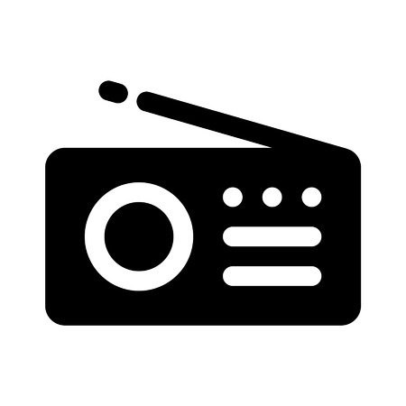 Music radio flat icon for apps and websites