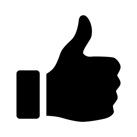 confirm: Thumbs up flat icon for apps and websites