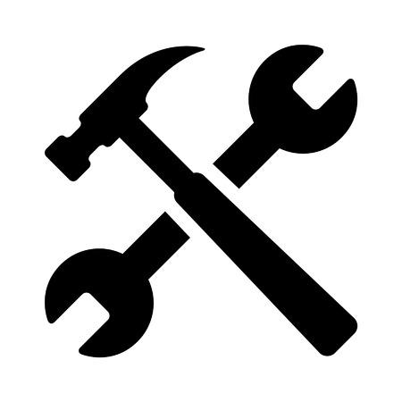 앱 망치와 렌치 수리 도구 평면 아이콘 일러스트
