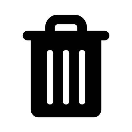 Trash can rubbish bin flat icon for apps and websites